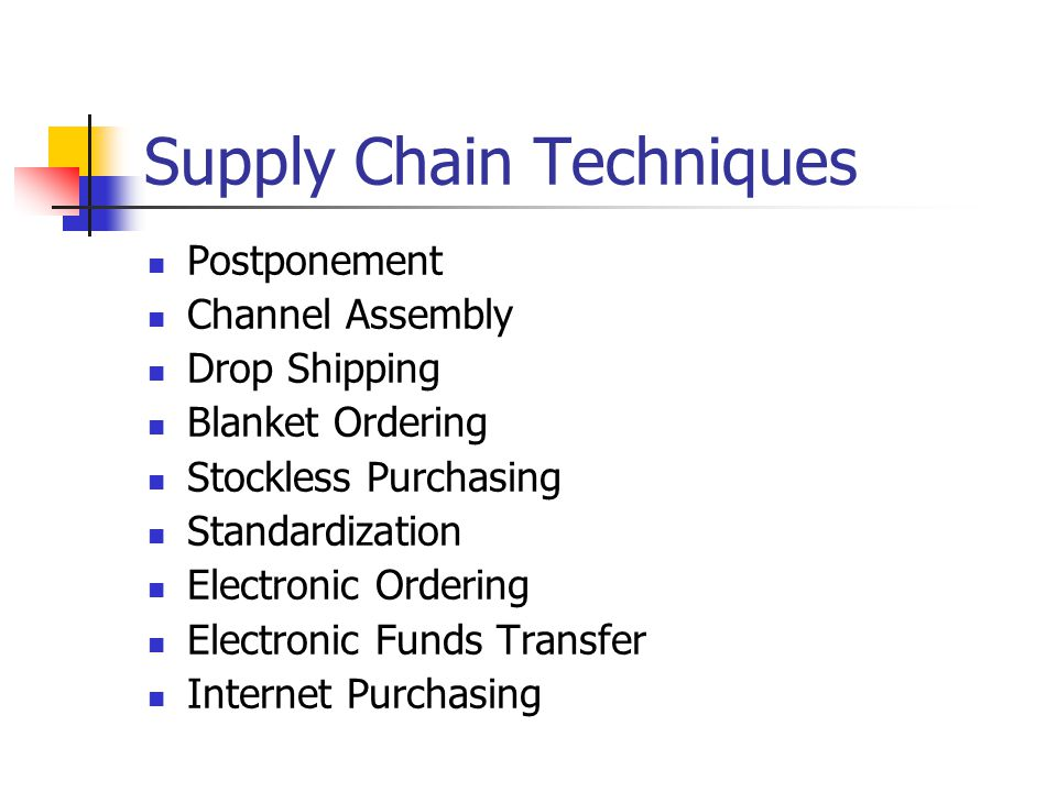 Supply Chain Techniques Postponement Channel Assembly Drop Shipping Blanket Ordering Stockless Purchasing Standardization Electronic Ordering Electronic Funds Transfer Internet Purchasing