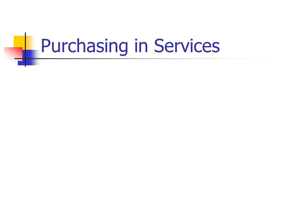 Purchasing in Services