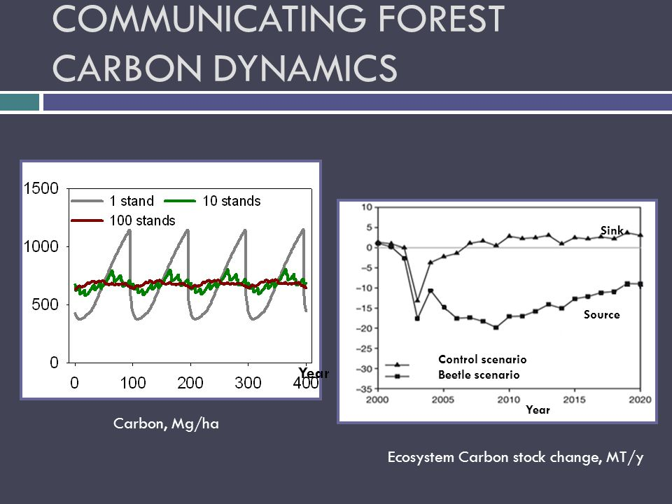 COMMUNICATING FOREST CARBON DYNAMICS Control scenario Beetle scenario Year Sink Source Year Ecosystem Carbon stock change, MT/y Carbon, Mg/ha Year