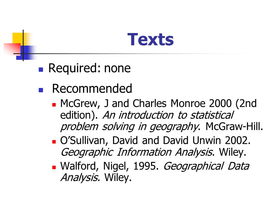 Texts Required: none Recommended McGrew, J and Charles Monroe 2000 (2nd edition).