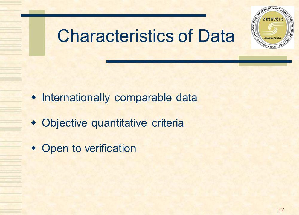 12 Characteristics of Data  Internationally comparable data  Objective quantitative criteria  Open to verification