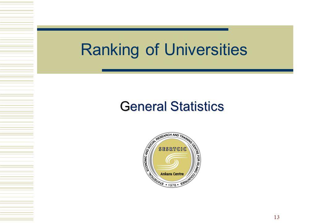 13 General Statistics Ranking of Universities