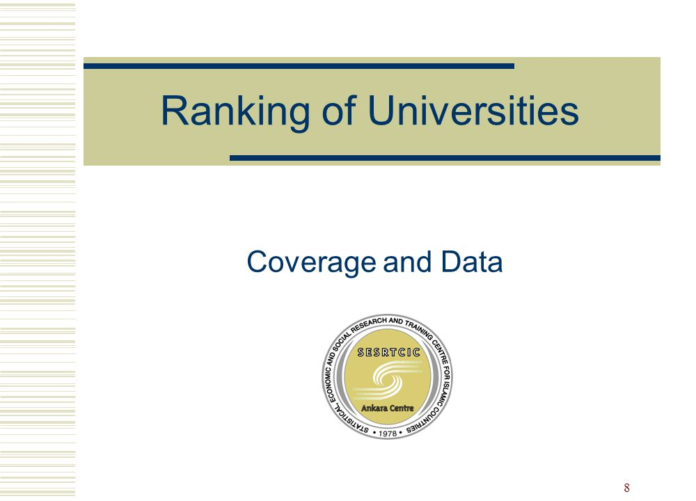 8 Ranking of Universities Coverage and Data