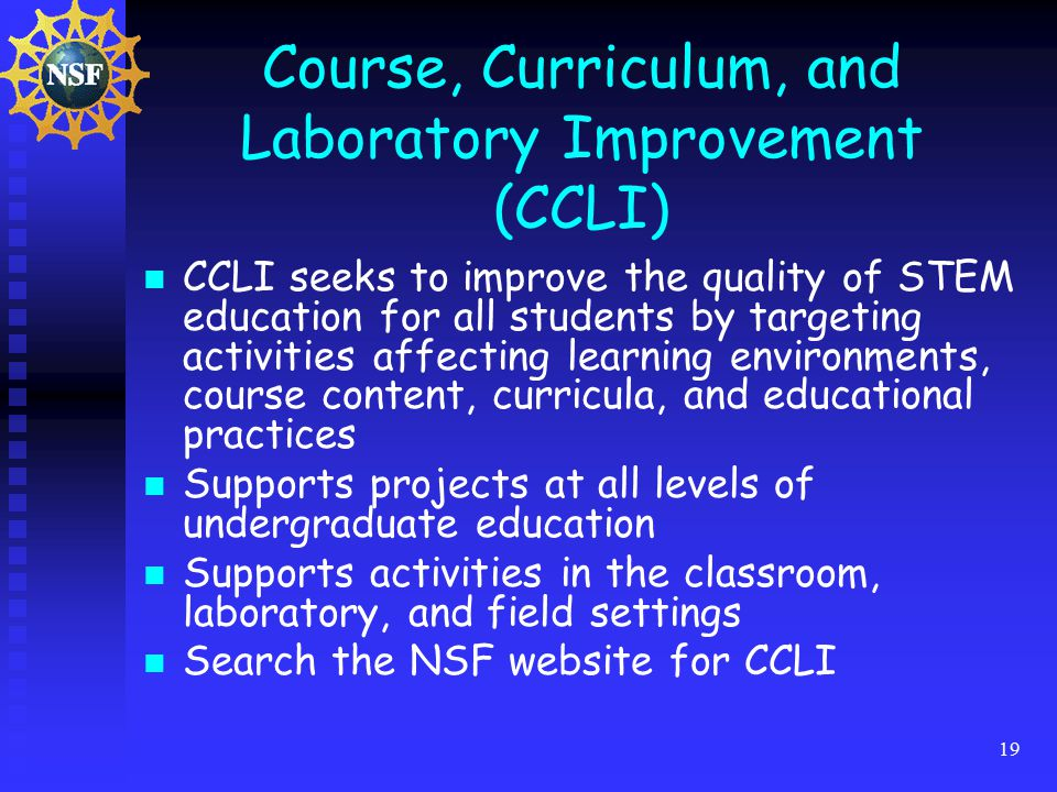 19 Course, Curriculum, and Laboratory Improvement (CCLI) CCLI seeks to improve the quality of STEM education for all students by targeting activities affecting learning environments, course content, curricula, and educational practices Supports projects at all levels of undergraduate education Supports activities in the classroom, laboratory, and field settings Search the NSF website for CCLI