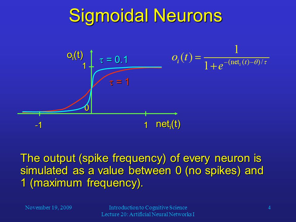 November 19, 2009Introduction to Cognitive Science Lecture 20: Artificial Neural Networks I 4 Sigmoidal Neurons The output (spike frequency) of every neuron is simulated as a value between 0 (no spikes) and 1 (maximum frequency).