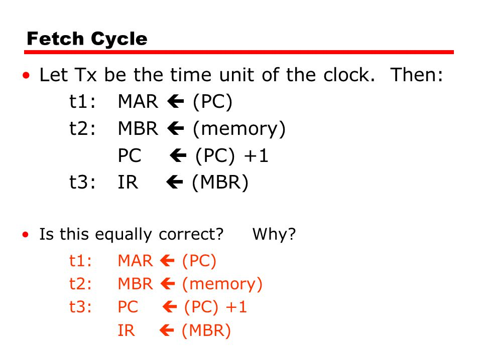 Fetch Cycle Let Tx be the time unit of the clock.