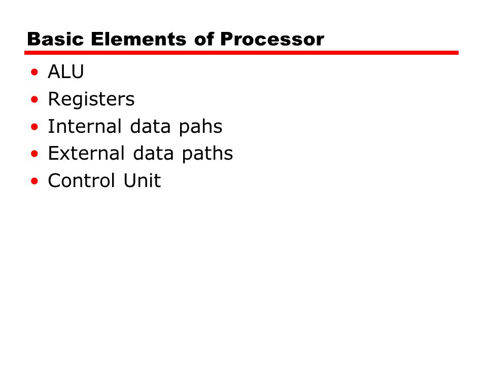 Basic Elements of Processor ALU Registers Internal data pahs External data paths Control Unit