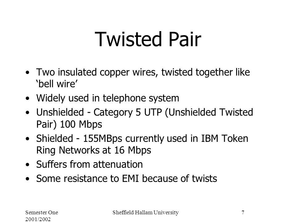 Semester One 2001/2002 Sheffield Hallam University7 Twisted Pair Two insulated copper wires, twisted together like 'bell wire' Widely used in telephone system Unshielded - Category 5 UTP (Unshielded Twisted Pair) 100 Mbps Shielded - 155MBps currently used in IBM Token Ring Networks at 16 Mbps Suffers from attenuation Some resistance to EMI because of twists