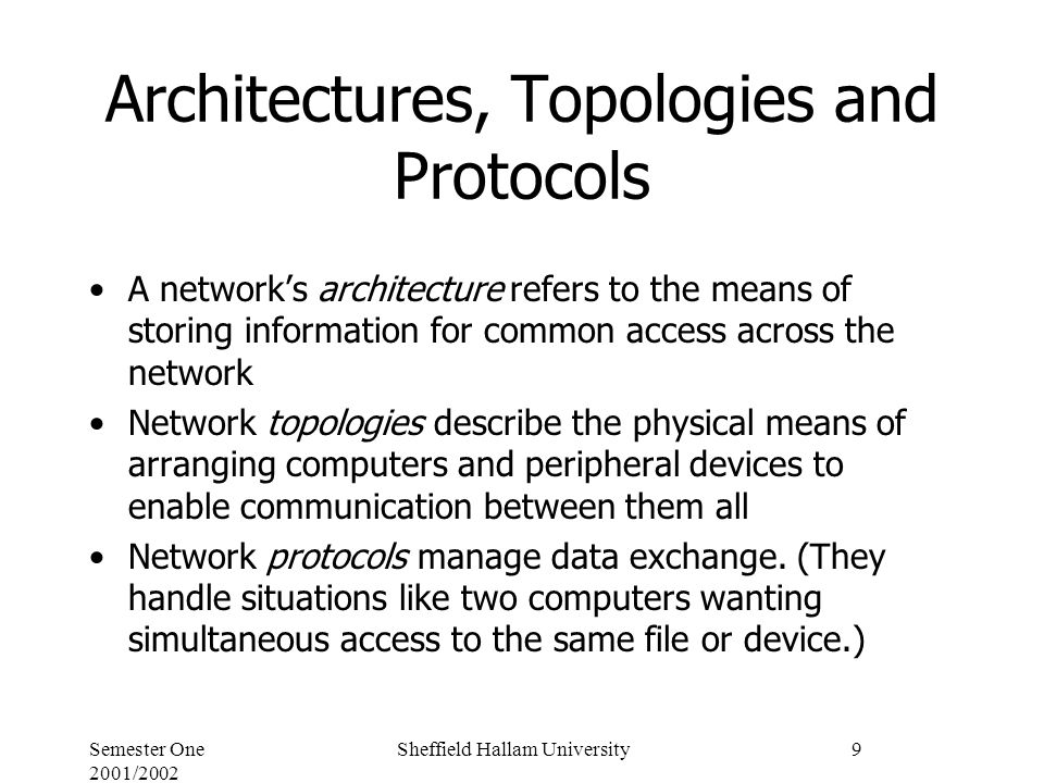 Semester One 2001/2002 Sheffield Hallam University9 Architectures, Topologies and Protocols A network's architecture refers to the means of storing information for common access across the network Network topologies describe the physical means of arranging computers and peripheral devices to enable communication between them all Network protocols manage data exchange.