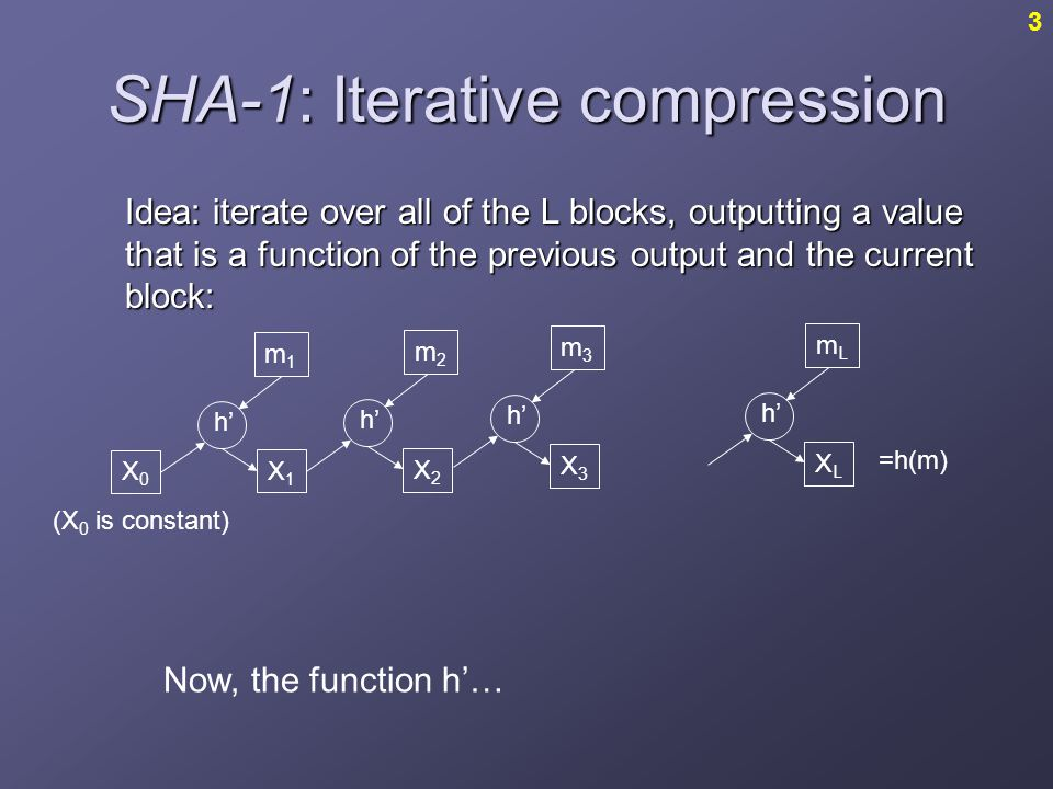 SHA-1: Iterative compression Idea: iterate over all of the L blocks, outputting a value that is a function of the previous output and the current block: Now, the function h'… m1m1 m2m2 X0X0 X1X1 X2X2 h' m3m3 X3X3 mLmL XLXL =h(m) 3 (X 0 is constant)