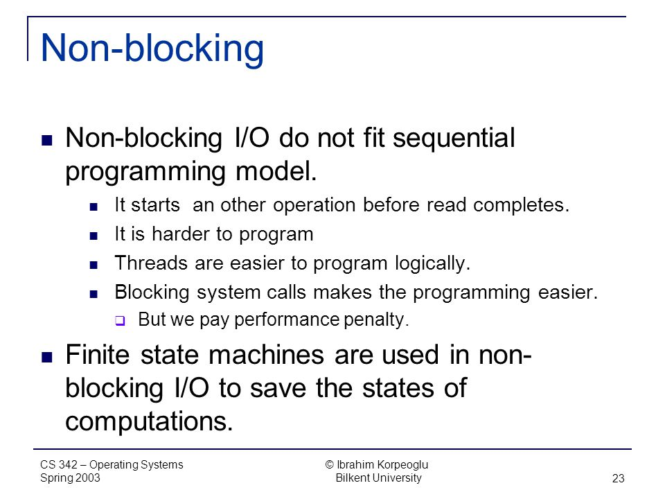blocking io and non blocking io