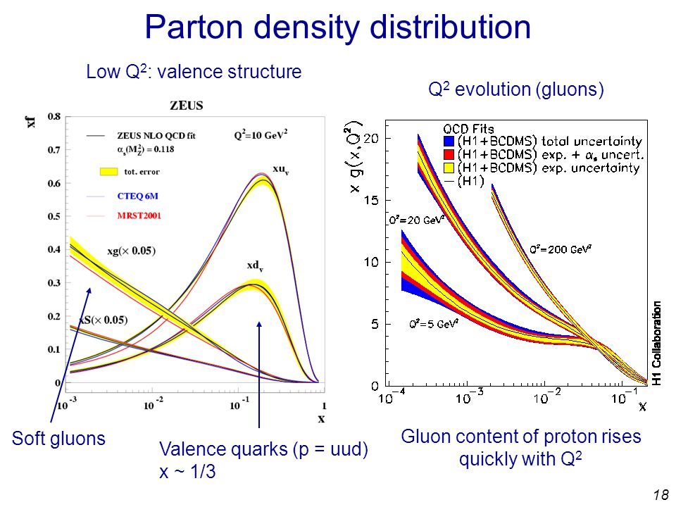 18 Parton density distribution Low Q 2 : valence structure Valence quarks (p = uud) x ~ 1/3 Soft gluons Q 2 evolution (gluons) Gluon content of proton rises quickly with Q 2