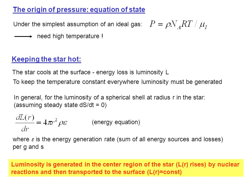 The origin of pressure: equation of state Under the simplest assumption of an ideal gas: need high temperature .