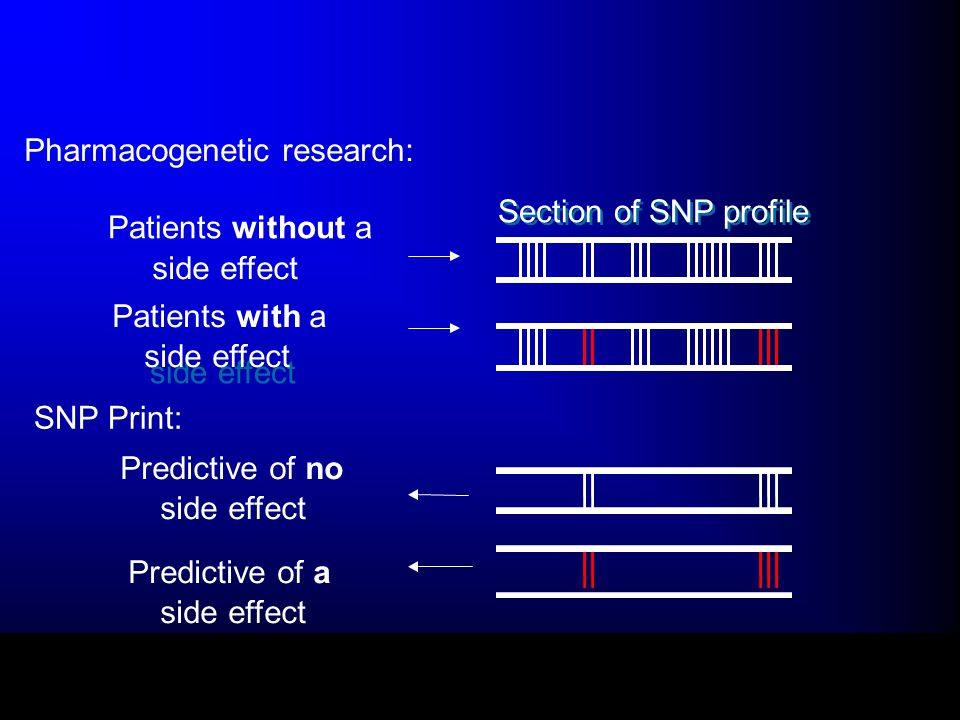 Patients without a side effect Section of SNP profile side effect Patients with a side effect Predictive of no side effect Predictive of a side effect SNP Print: Pharmacogenetic research: