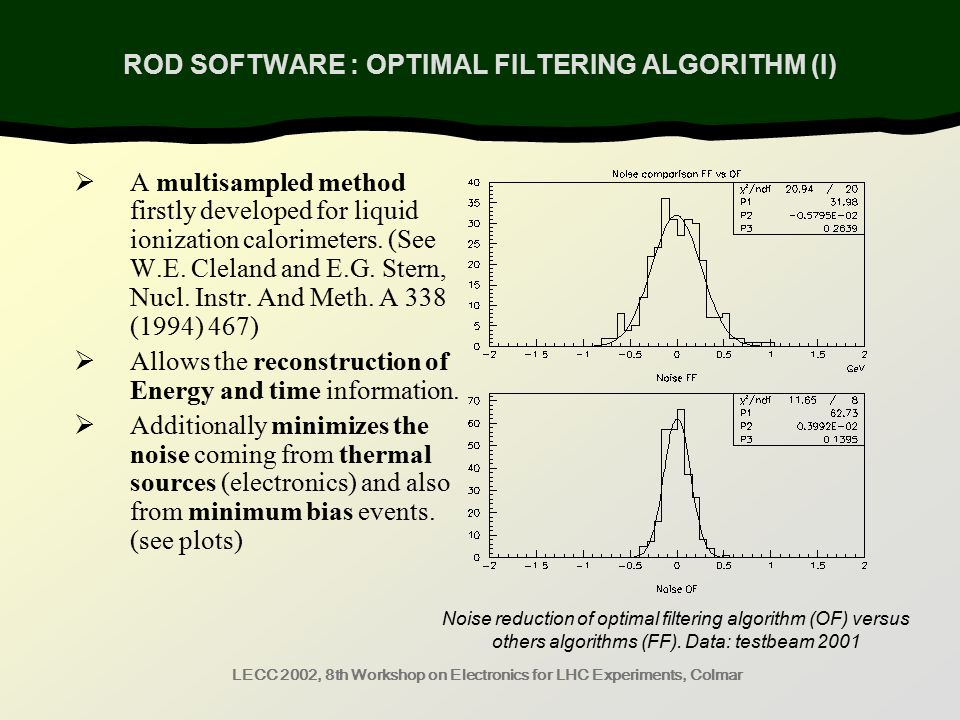 LECC 2002, 8th Workshop on Electronics for LHC Experiments, Colmar Noise reduction of optimal filtering algorithm (OF) versus others algorithms (FF).