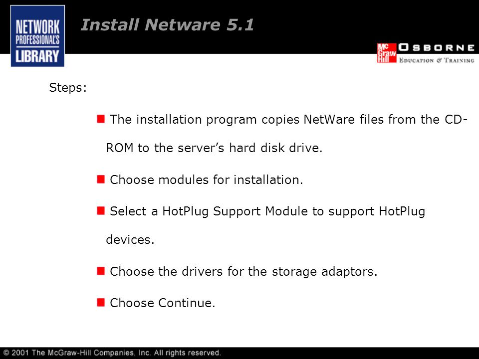 Steps: The installation program copies NetWare files from the CD- ROM to the server's hard disk drive.