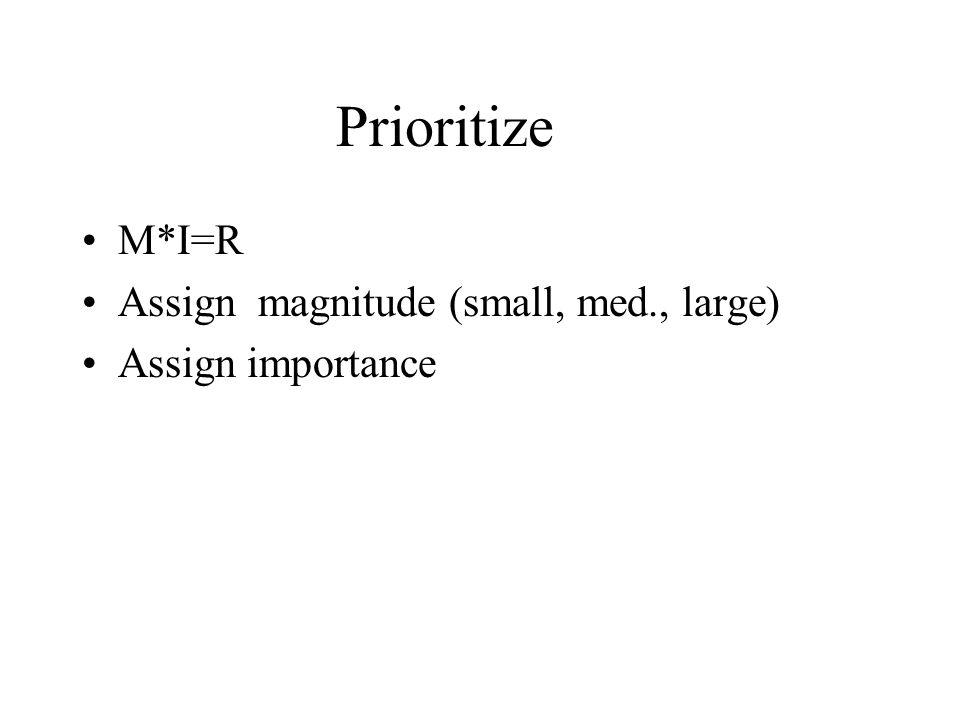 Prioritize M*I=R Assign magnitude (small, med., large) Assign importance