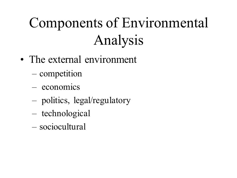 Components of Environmental Analysis The external environment –competition – economics – politics, legal/regulatory – technological –sociocultural