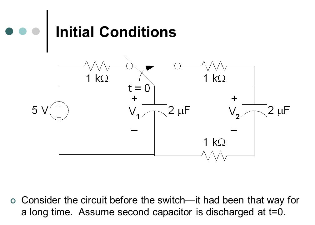 Initial Conditions Consider the circuit before the switch—it had been that way for a long time.