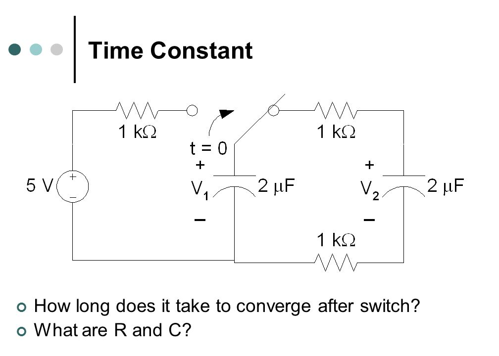 Time Constant How long does it take to converge after switch What are R and C