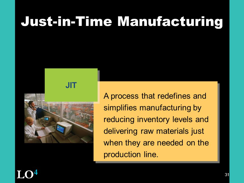 31 Just-in-Time Manufacturing A process that redefines and simplifies manufacturing by reducing inventory levels and delivering raw materials just when they are needed on the production line.