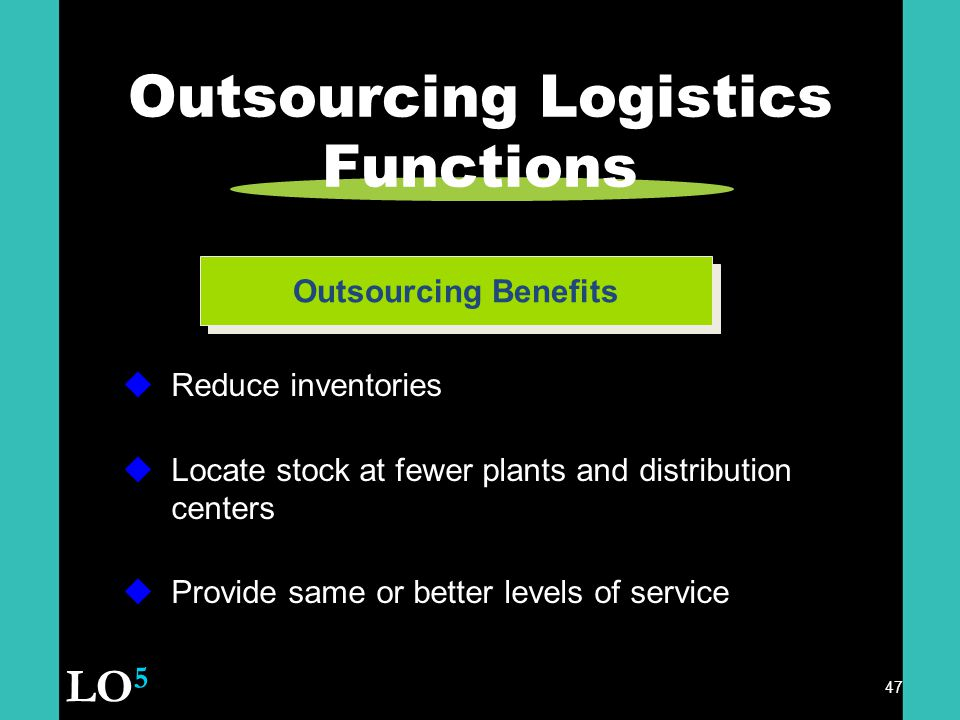 47 Outsourcing Logistics Functions Outsourcing Benefits  Reduce inventories  Locate stock at fewer plants and distribution centers  Provide same or better levels of service LO 5