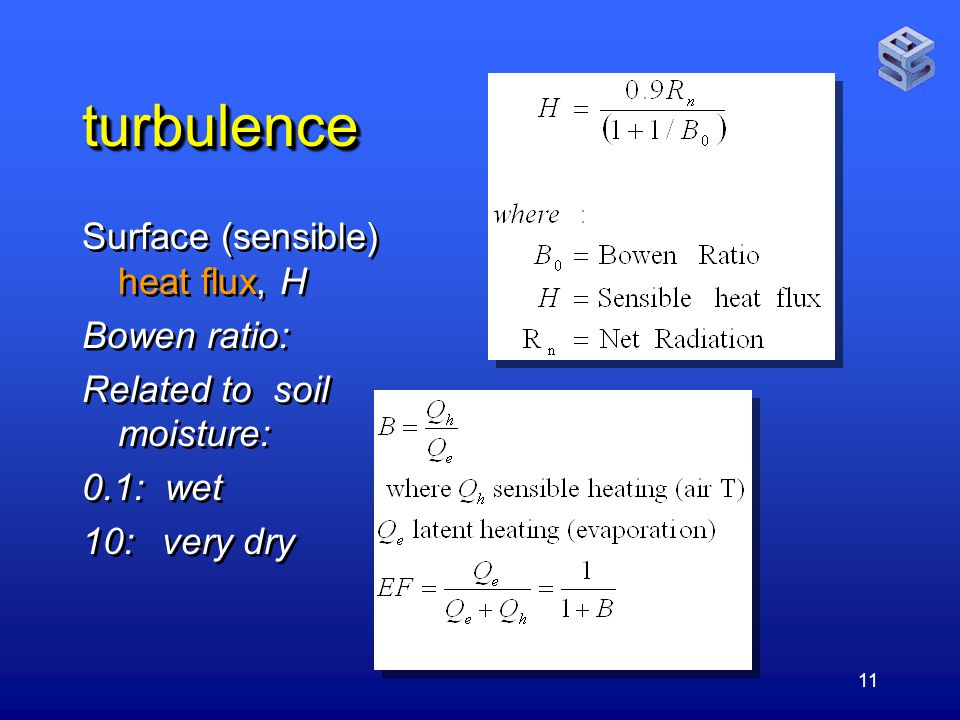 11 turbulenceturbulence Surface (sensible) heat flux, H Bowen ratio: Related to soil moisture: 0.1: wet 10: very dry Surface (sensible) heat flux, H Bowen ratio: Related to soil moisture: 0.1: wet 10: very dry
