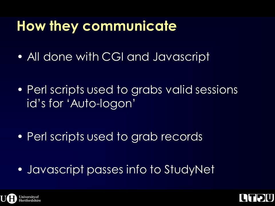 How they communicate All done with CGI and Javascript Perl scripts used to grabs valid sessions id's for 'Auto-logon' Perl scripts used to grab records Javascript passes info to StudyNet