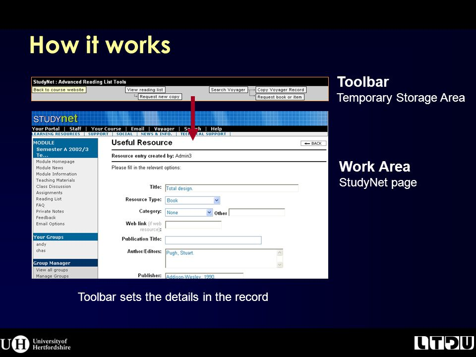 How it works Toolbar Temporary Storage Area Work Area StudyNet page Toolbar sets the details in the record