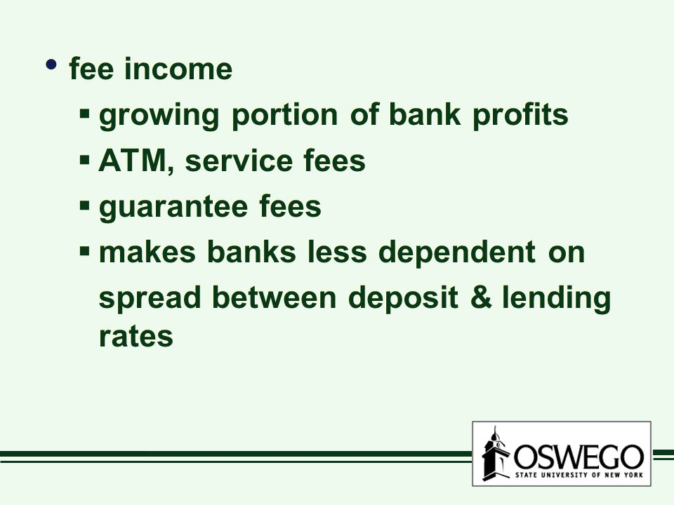 fee income  growing portion of bank profits  ATM, service fees  guarantee fees  makes banks less dependent on spread between deposit & lending rates fee income  growing portion of bank profits  ATM, service fees  guarantee fees  makes banks less dependent on spread between deposit & lending rates