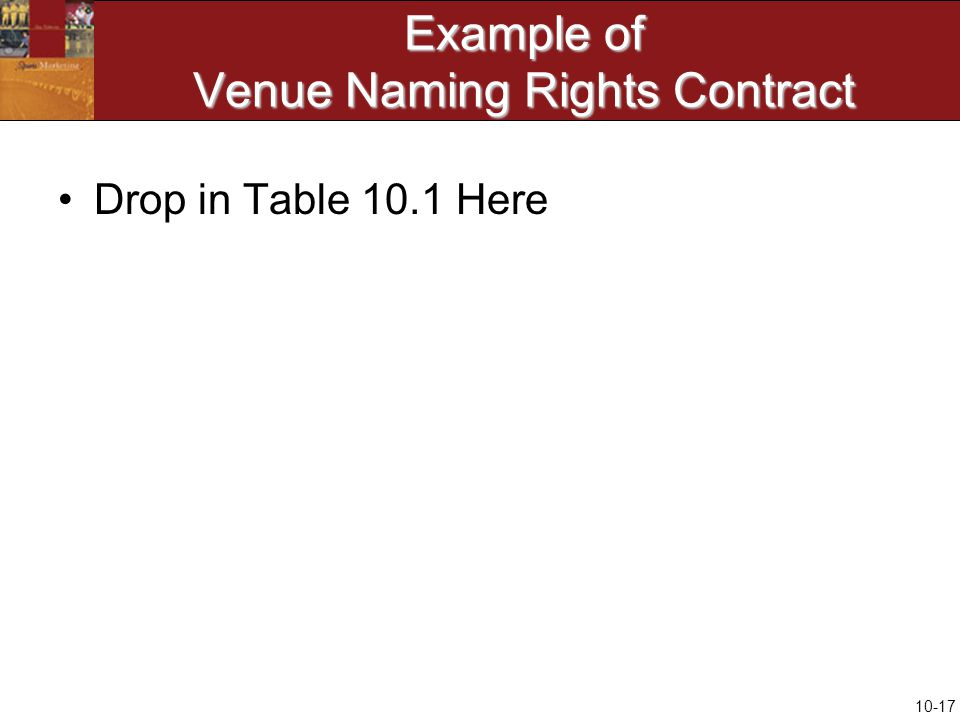 10-17 Example of Venue Naming Rights Contract Drop in Table 10.1 Here