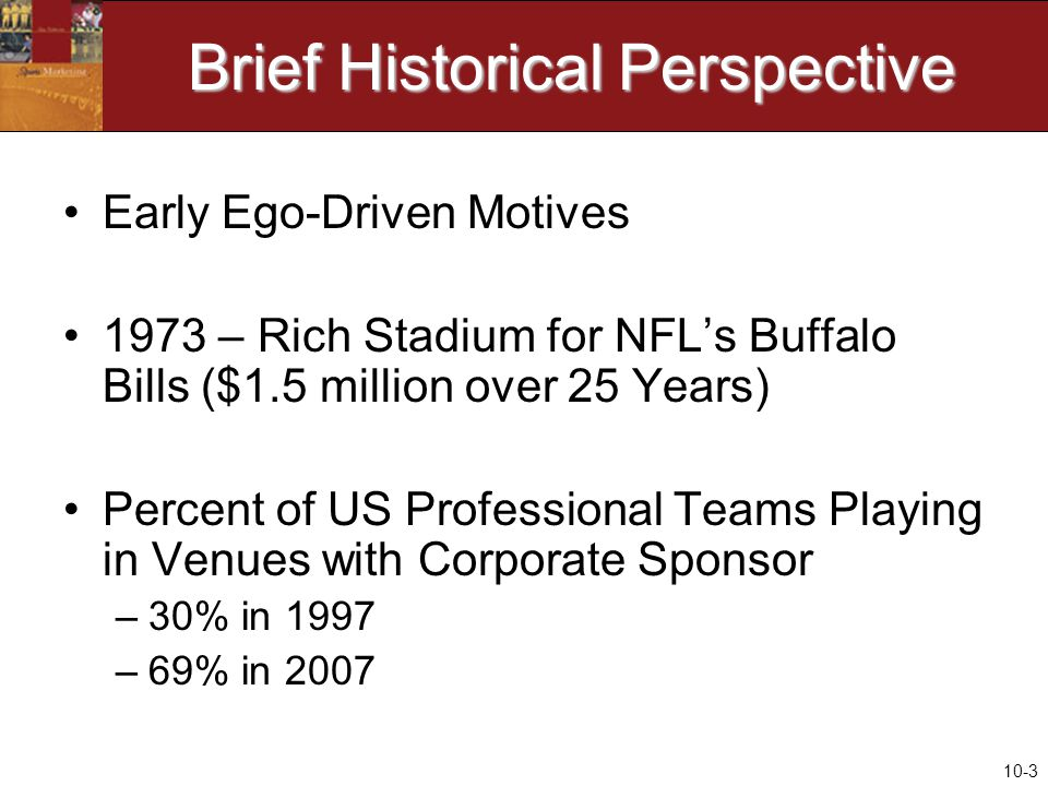 10-3 Brief Historical Perspective Early Ego-Driven Motives 1973 – Rich Stadium for NFL's Buffalo Bills ($1.5 million over 25 Years) Percent of US Professional Teams Playing in Venues with Corporate Sponsor –30% in 1997 –69% in 2007