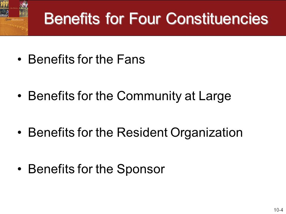 10-4 Benefits for Four Constituencies Benefits for the Fans Benefits for the Community at Large Benefits for the Resident Organization Benefits for the Sponsor