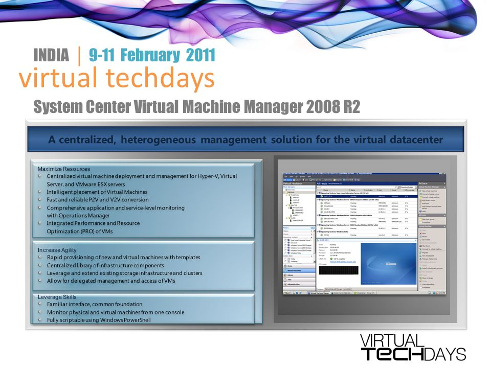 virtual techdays INDIA │ 9-11 February 2011 System Center Virtual Machine Manager 2008 R2
