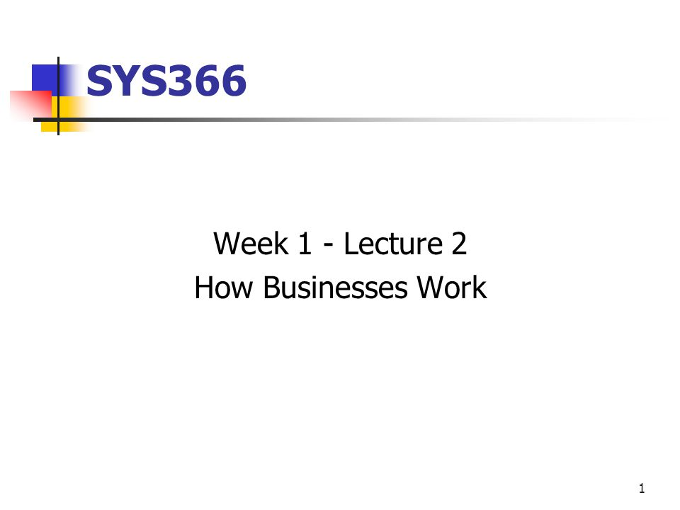 1 SYS366 Week 1 - Lecture 2 How Businesses Work