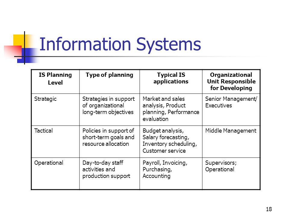 18 Information Systems IS Planning Level Type of planningTypical IS applications Organizational Unit Responsible for Developing StrategicStrategies in support of organizational long-term objectives Market and sales analysis, Product planning, Performance evaluation Senior Management/ Executives TacticalPolicies in support of short-term goals and resource allocation Budget analysis, Salary forecasting, Inventory scheduling, Customer service Middle Management OperationalDay-to-day staff activities and production support Payroll, Invoicing, Purchasing, Accounting Supervisors; Operational