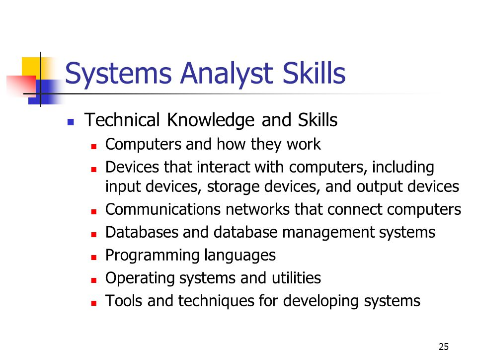 25 Systems Analyst Skills Technical Knowledge and Skills Computers and how they work Devices that interact with computers, including input devices, storage devices, and output devices Communications networks that connect computers Databases and database management systems Programming languages Operating systems and utilities Tools and techniques for developing systems