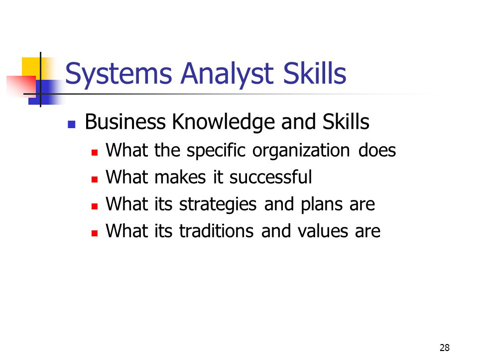 28 Systems Analyst Skills Business Knowledge and Skills What the specific organization does What makes it successful What its strategies and plans are What its traditions and values are