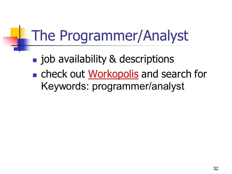 32 The Programmer/Analyst job availability & descriptions check out Workopolis and search for Keywords: programmer/analystWorkopolis