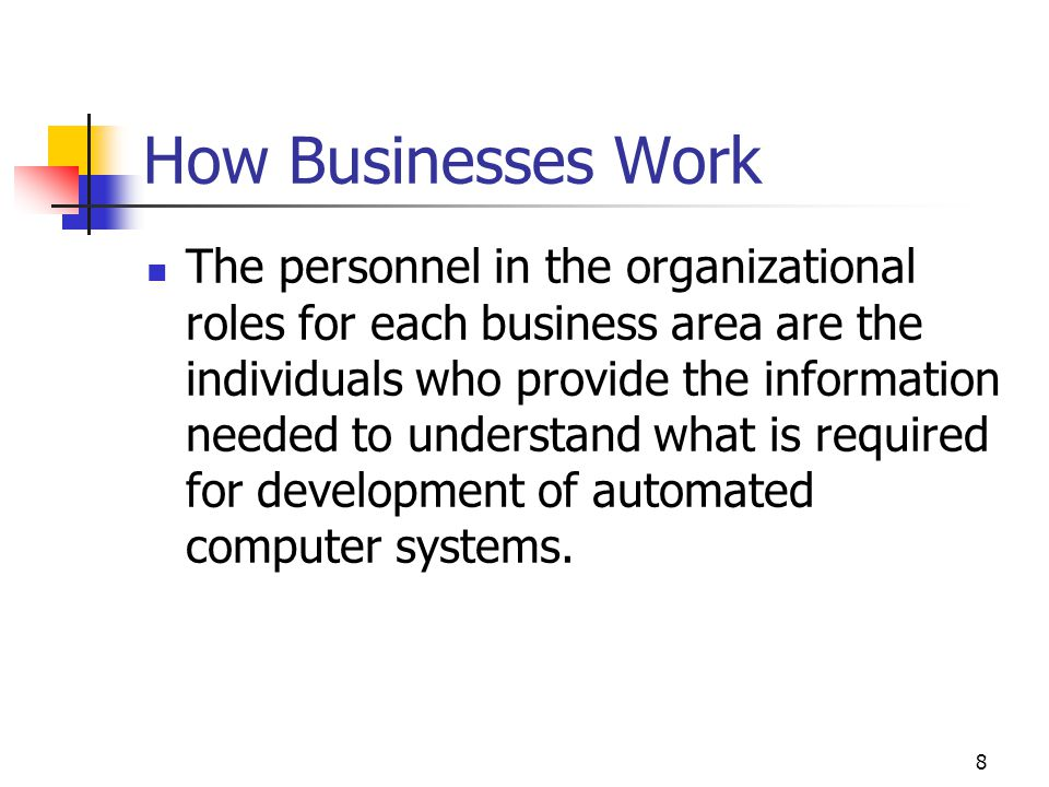 8 How Businesses Work The personnel in the organizational roles for each business area are the individuals who provide the information needed to understand what is required for development of automated computer systems.