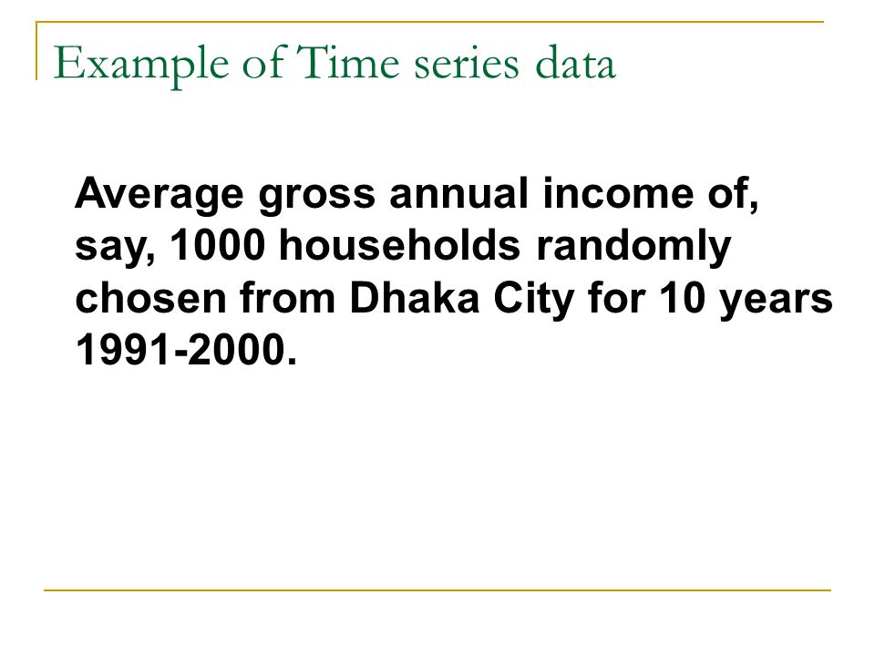 Example of Time series data Average gross annual income of, say, 1000 households randomly chosen from Dhaka City for 10 years
