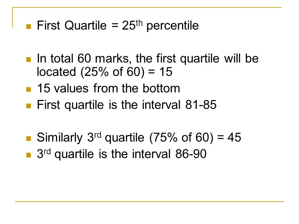 First Quartile = 25 th percentile In total 60 marks, the first quartile will be located (25% of 60) = values from the bottom First quartile is the interval Similarly 3 rd quartile (75% of 60) = 45 3 rd quartile is the interval 86-90