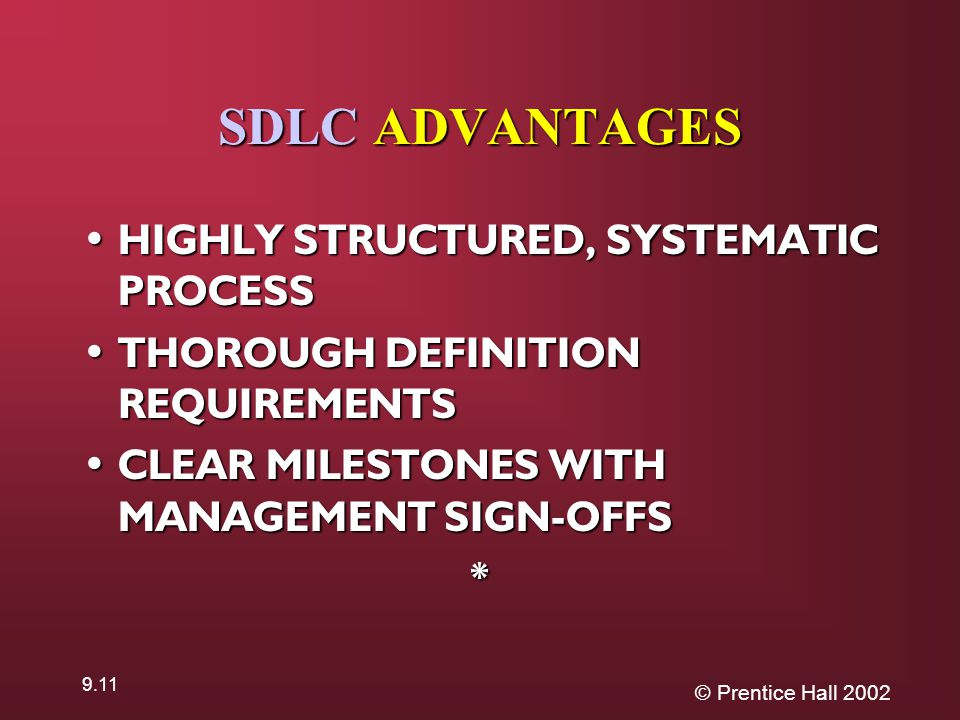 © Prentice Hall SDLC ADVANTAGES HIGHLY STRUCTURED, SYSTEMATIC PROCESS HIGHLY STRUCTURED, SYSTEMATIC PROCESS THOROUGH DEFINITION REQUIREMENTS THOROUGH DEFINITION REQUIREMENTS CLEAR MILESTONES WITH MANAGEMENT SIGN-OFFS CLEAR MILESTONES WITH MANAGEMENT SIGN-OFFS*