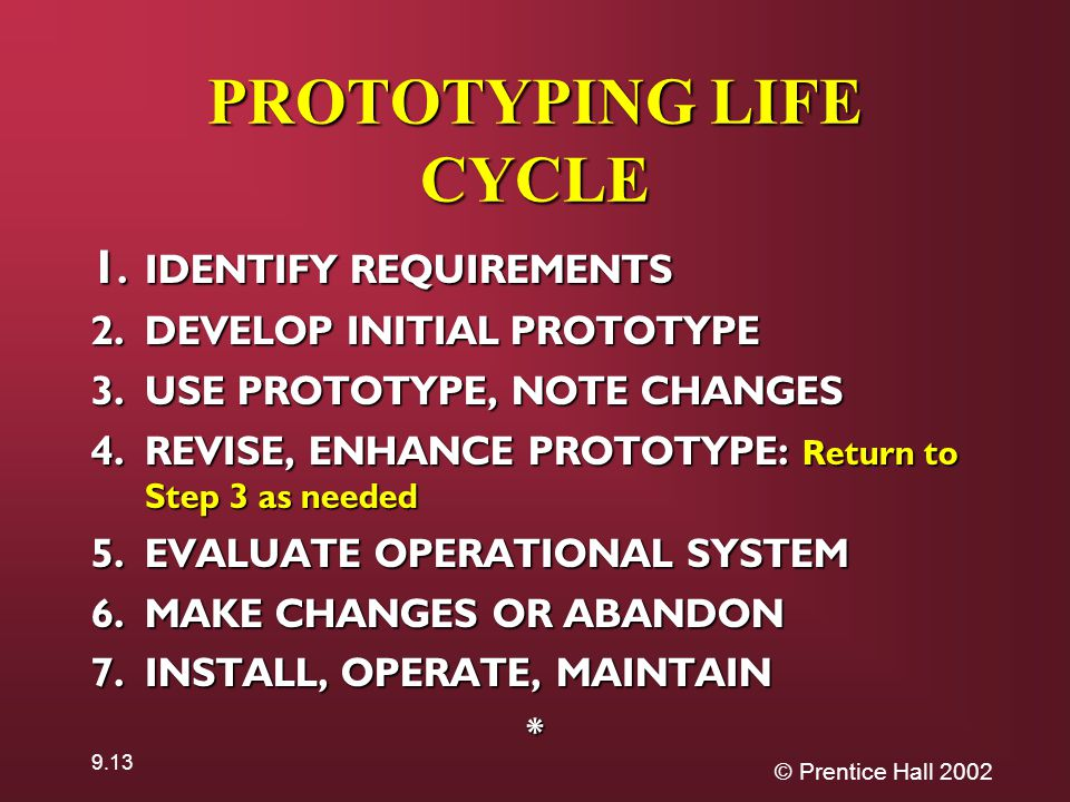 © Prentice Hall PROTOTYPING LIFE CYCLE 1.IDENTIFY REQUIREMENTS 2.DEVELOP INITIAL PROTOTYPE 3.USE PROTOTYPE, NOTE CHANGES 4.REVISE, ENHANCE PROTOTYPE: Return to Step 3 as needed 5.EVALUATE OPERATIONAL SYSTEM 6.MAKE CHANGES OR ABANDON 7.INSTALL, OPERATE, MAINTAIN *