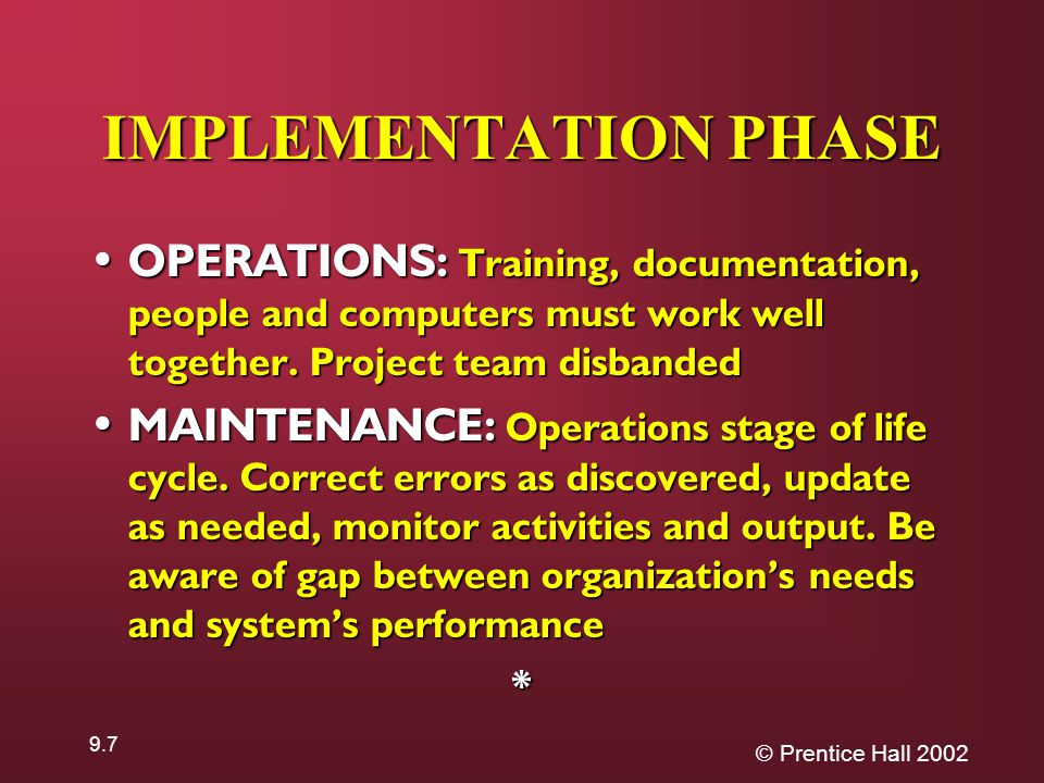 © Prentice Hall IMPLEMENTATION PHASE OPERATIONS: Training, documentation, people and computers must work well together.