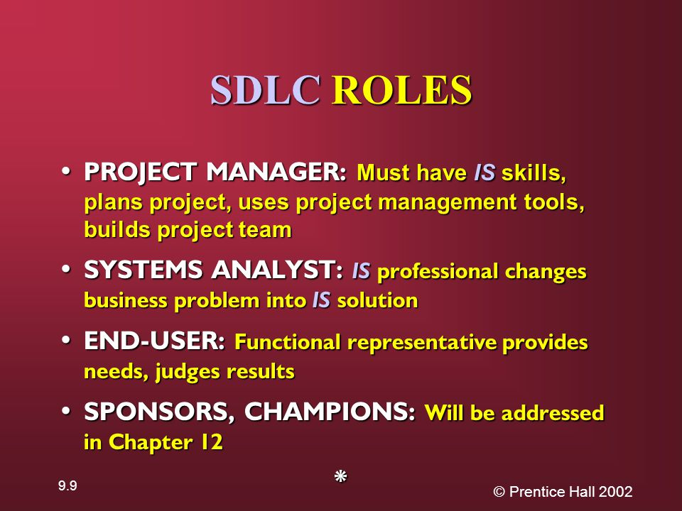 © Prentice Hall SDLC ROLES PROJECT MANAGER: Must have IS skills, plans project, uses project management tools, builds project team PROJECT MANAGER: Must have IS skills, plans project, uses project management tools, builds project team SYSTEMS ANALYST: IS professional changes business problem into IS solution SYSTEMS ANALYST: IS professional changes business problem into IS solution END-USER: Functional representative provides needs, judges results END-USER: Functional representative provides needs, judges results SPONSORS, CHAMPIONS: Will be addressed in Chapter 12 SPONSORS, CHAMPIONS: Will be addressed in Chapter 12*