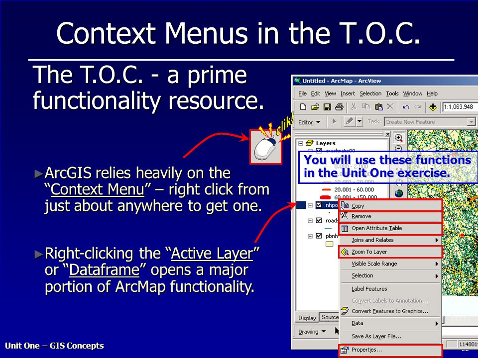 Unit One – GIS Concepts 29 Context Menus in the T.O.C.