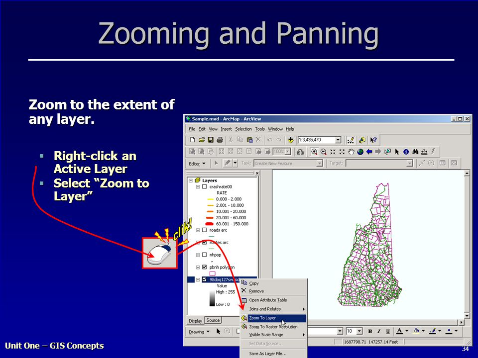 Unit One – GIS Concepts 34 Zooming and Panning  Right-click an Active Layer  Select Zoom to Layer Zoom to the extent of any layer.