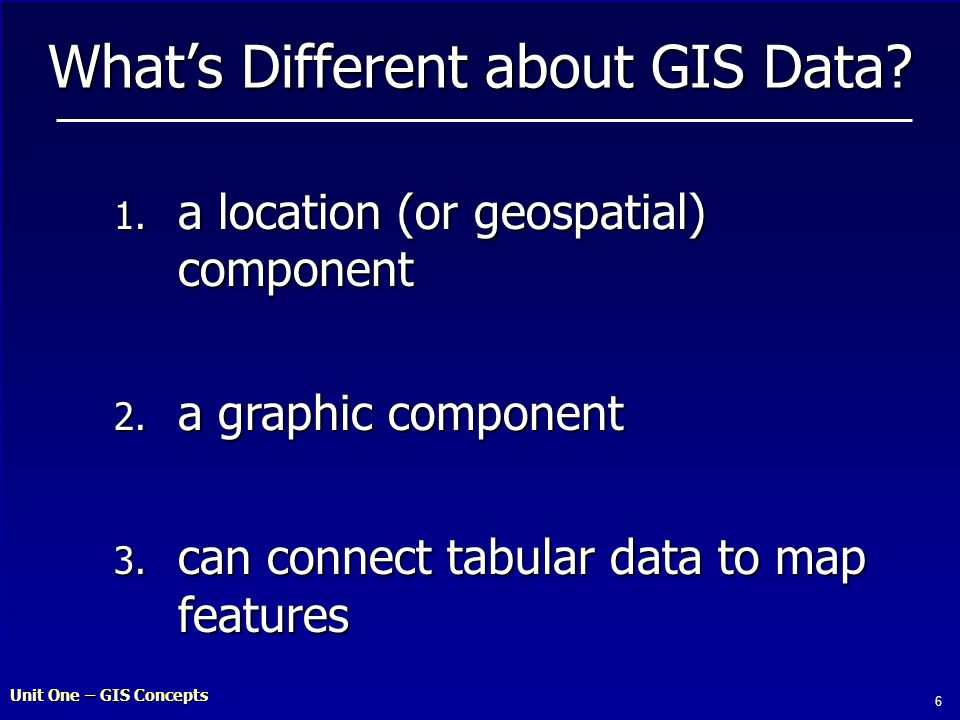 Unit One – GIS Concepts 6 What's Different about GIS Data.