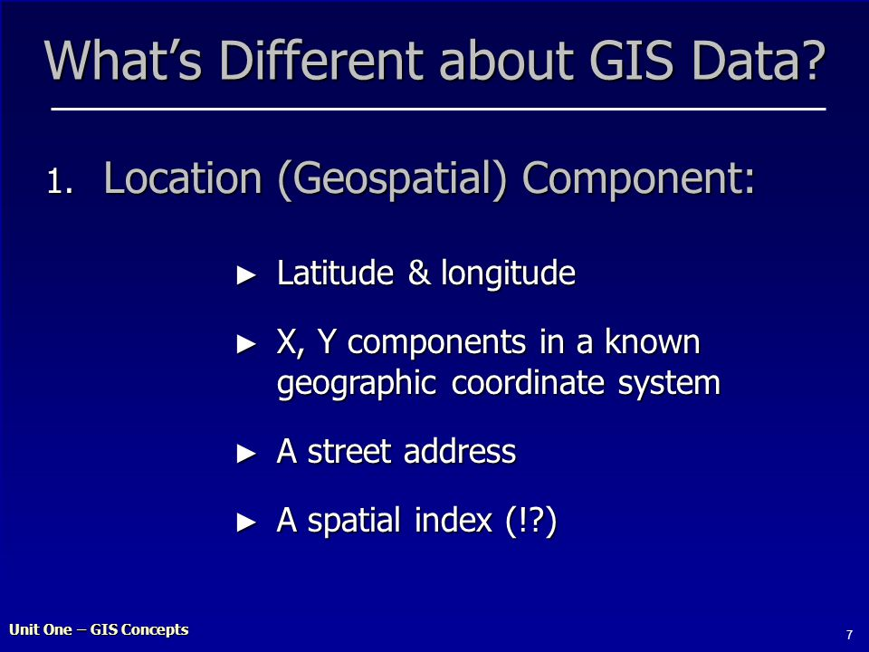 Unit One – GIS Concepts 7 What's Different about GIS Data.